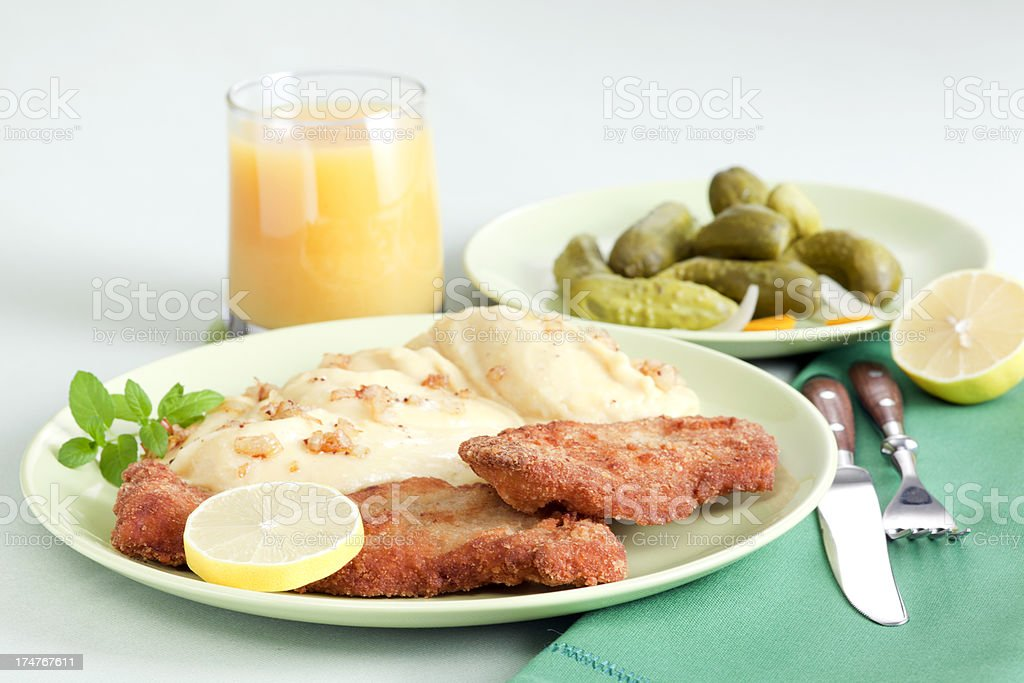 Schnitzel and potato mash royalty-free stock photo