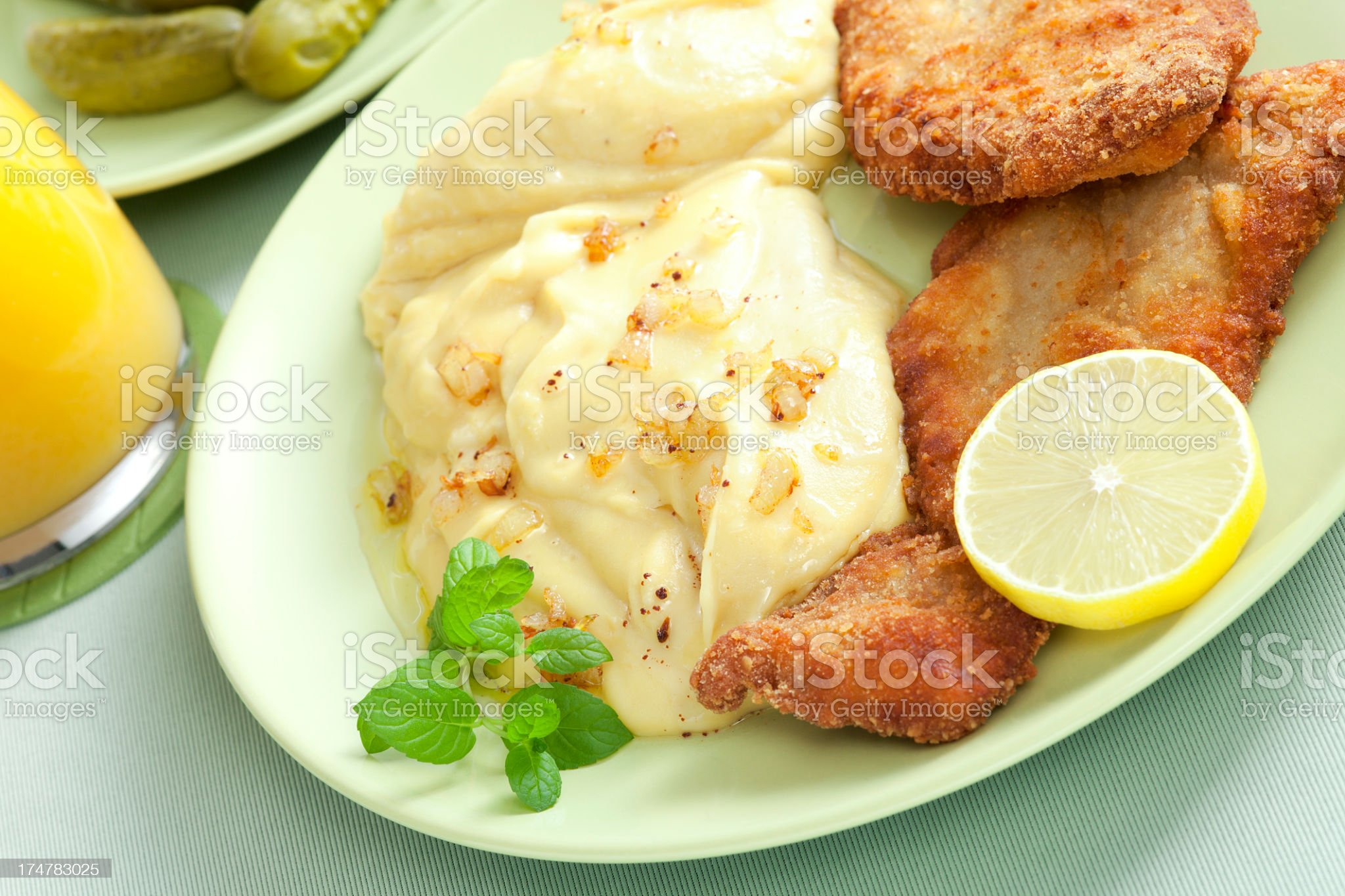 Schnitzel and potato mash royalty-free stock photo