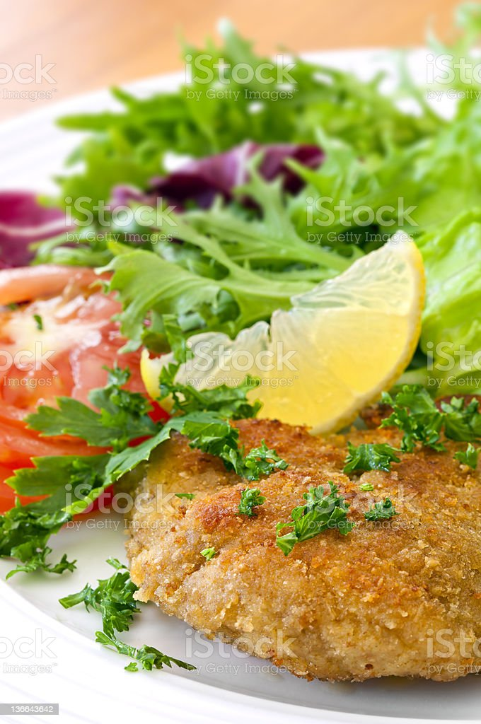 Schnitzel and Salad stock photo