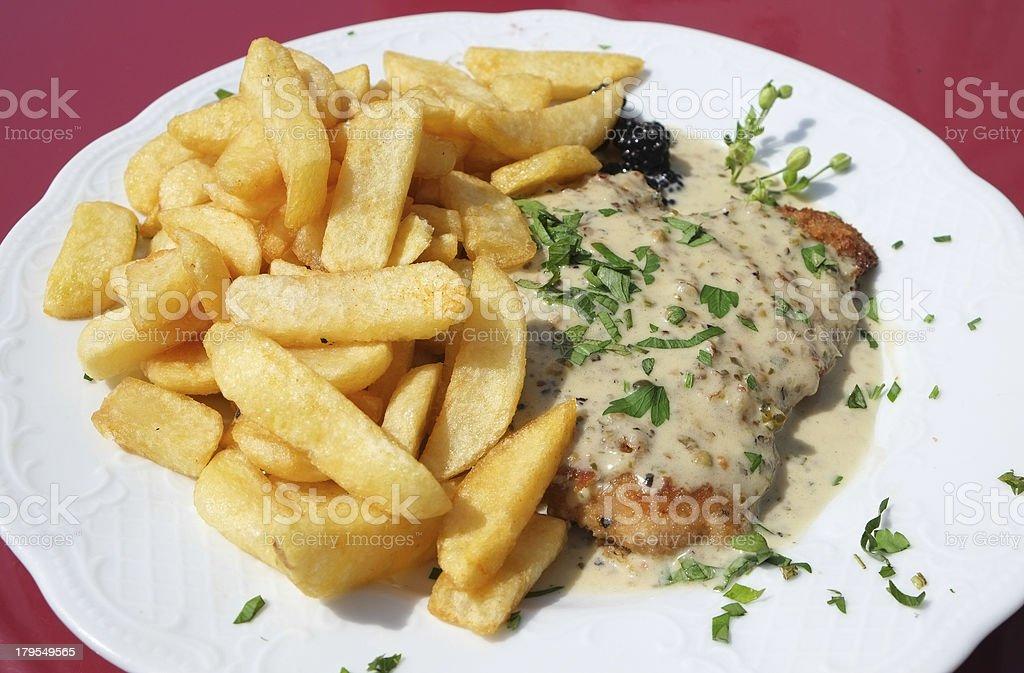 Schnitzel dinner royalty-free stock photo