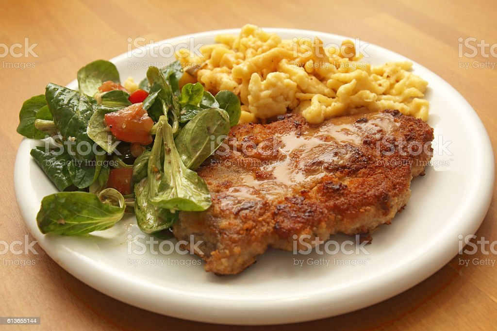 Schnitzel in der Pfanne stock photo