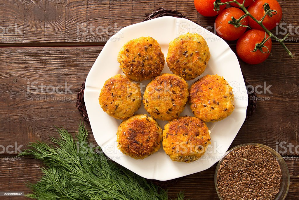 Schnitzel of Turkey with flax seeds stock photo