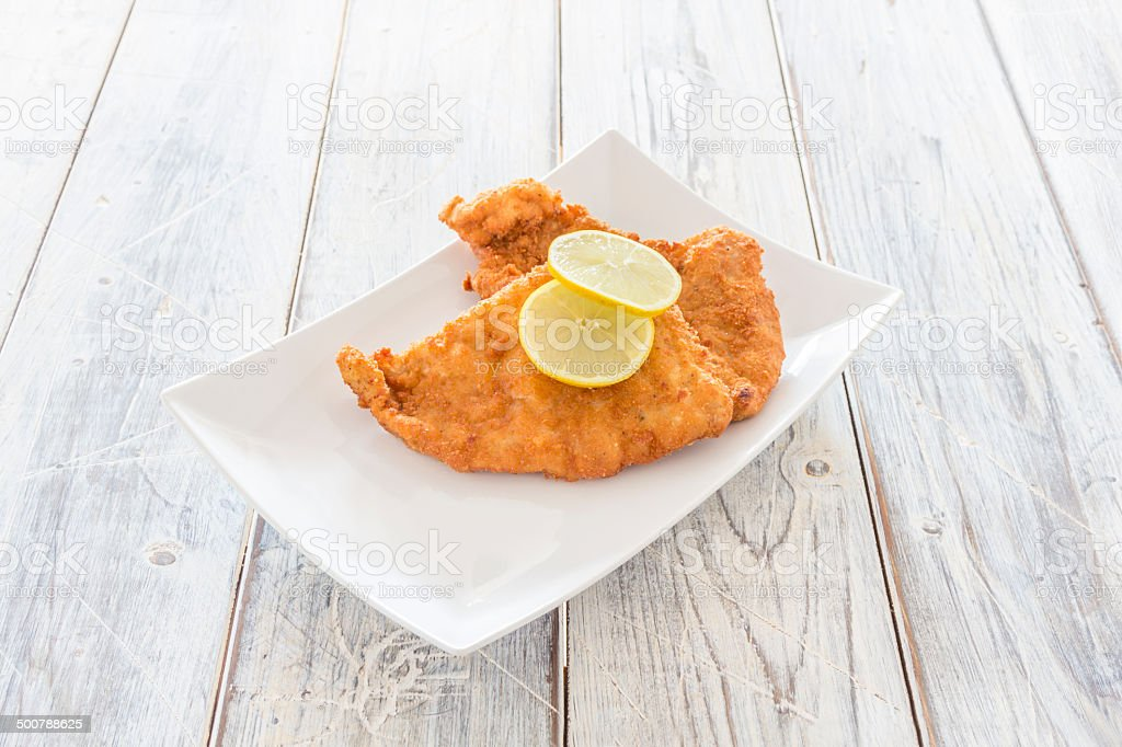 Schnitzel on a Plate stock photo