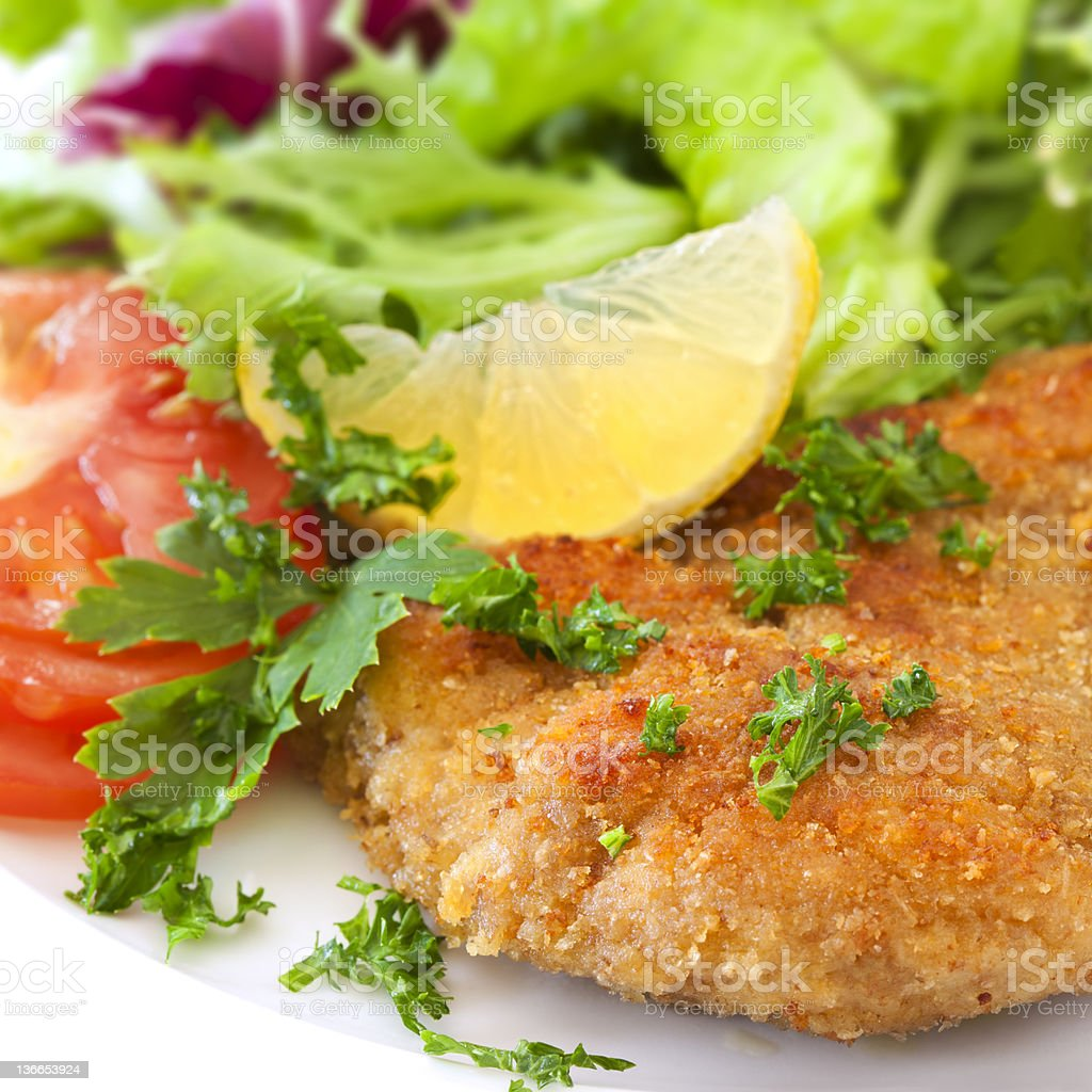 Schnitzel with Salad royalty-free stock photo