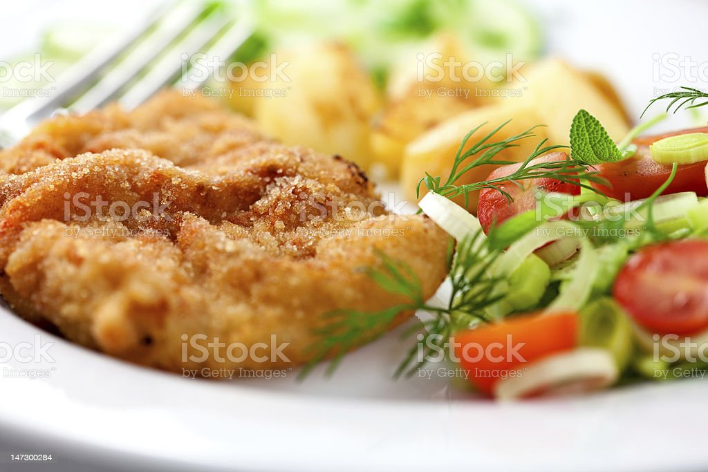 Schnitzel with vegetables stock photo