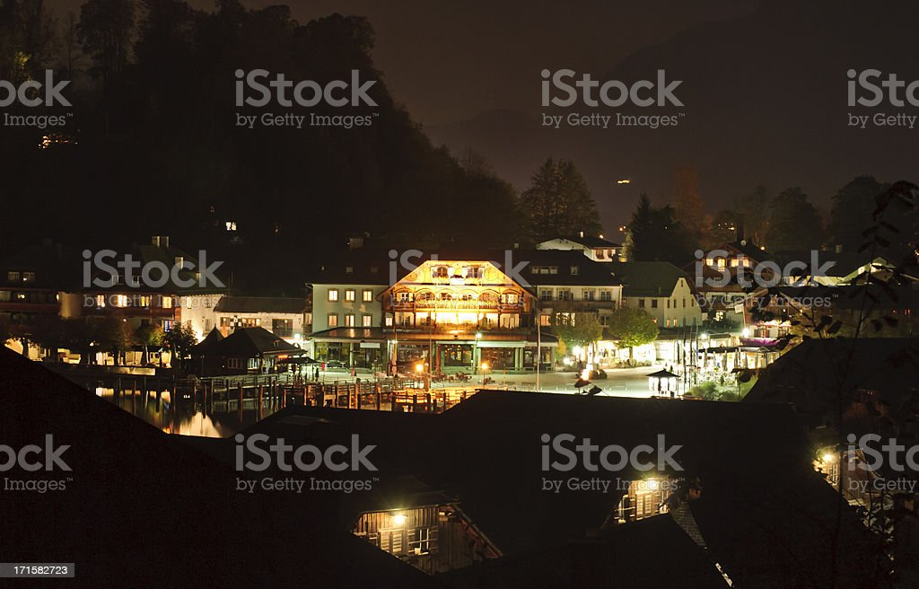 Schoenau am Koenigssee at night royalty-free stock photo