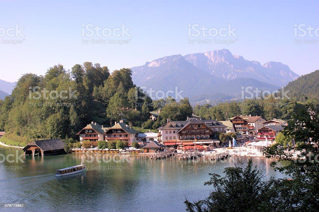 Schoenau at the Lake Koenigssee stock photo