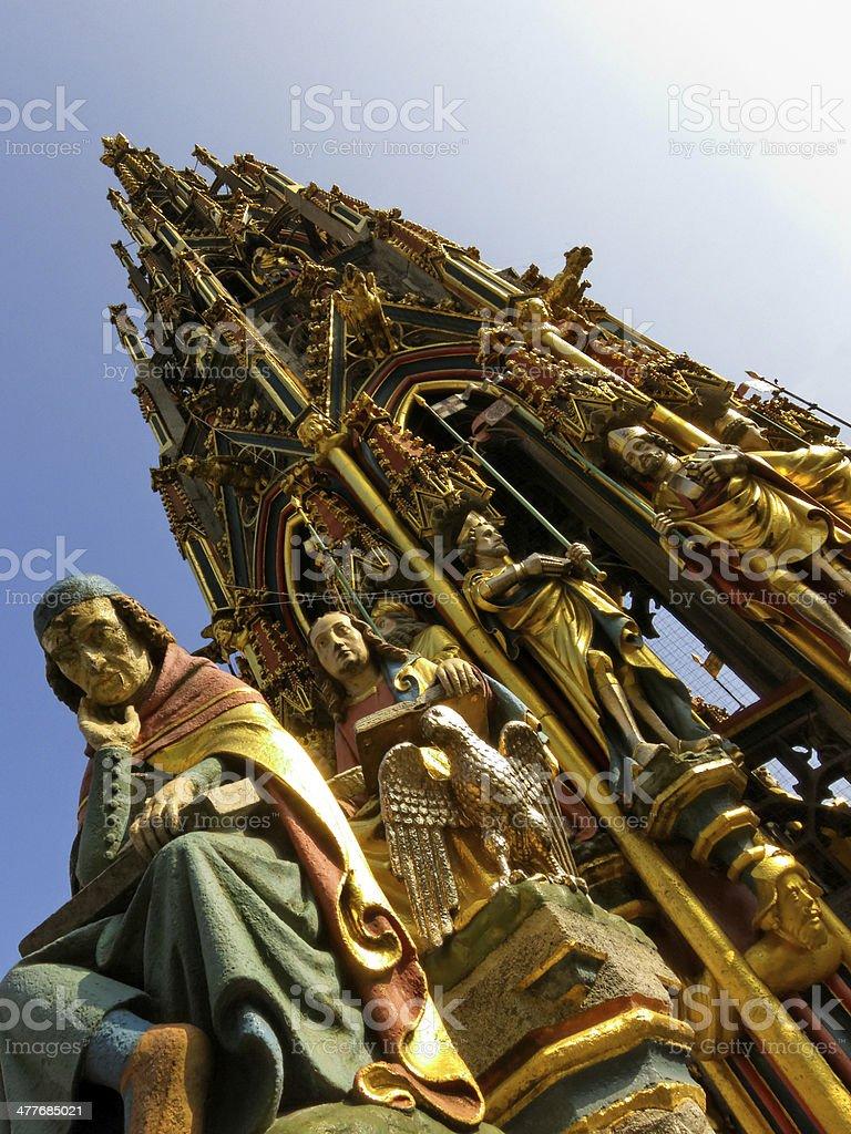 schoener Brunnen in Nuremberg - gothic style royalty-free stock photo
