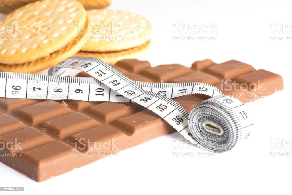 Schokolade Kekse und ein Messband stock photo