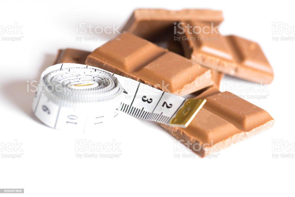 Schokolade und Messband stock photo