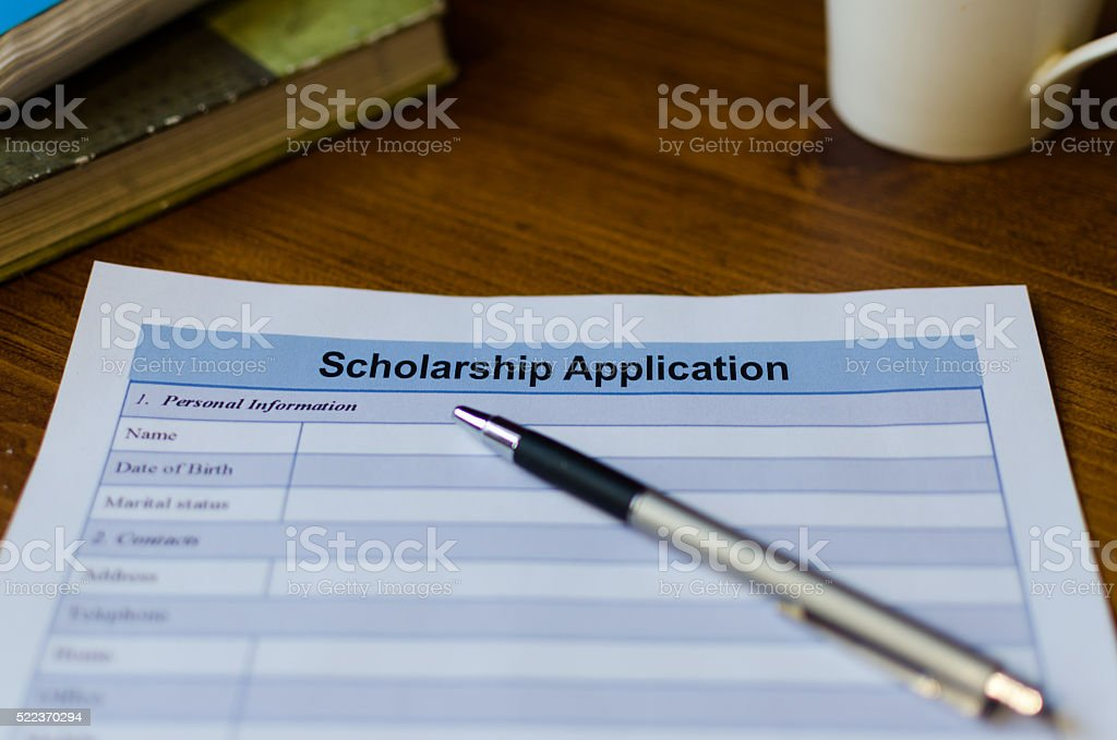 Scholarship application stock photo