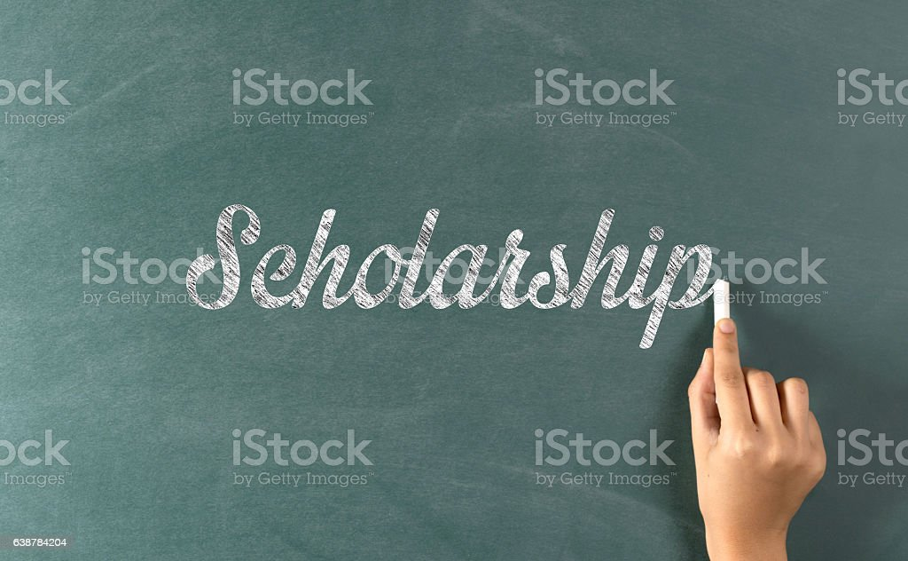 Scholarship Concept on Chalkboard stock photo
