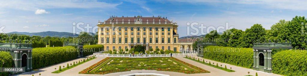 Schonbrunn Palace and garden panorama in Vienna - Austria stock photo