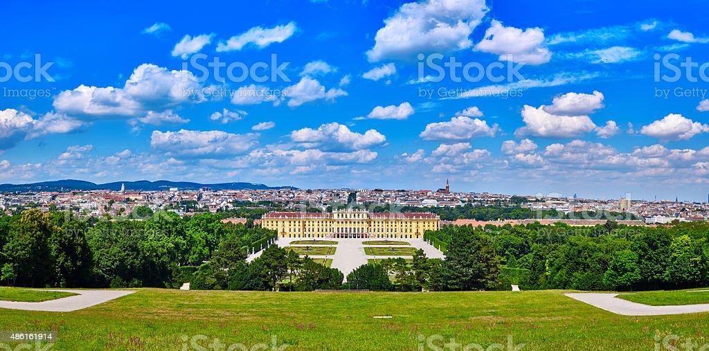 Schonbrunn palace panorama in Vienna, Austria beautiful blue cloudy sky stock photo
