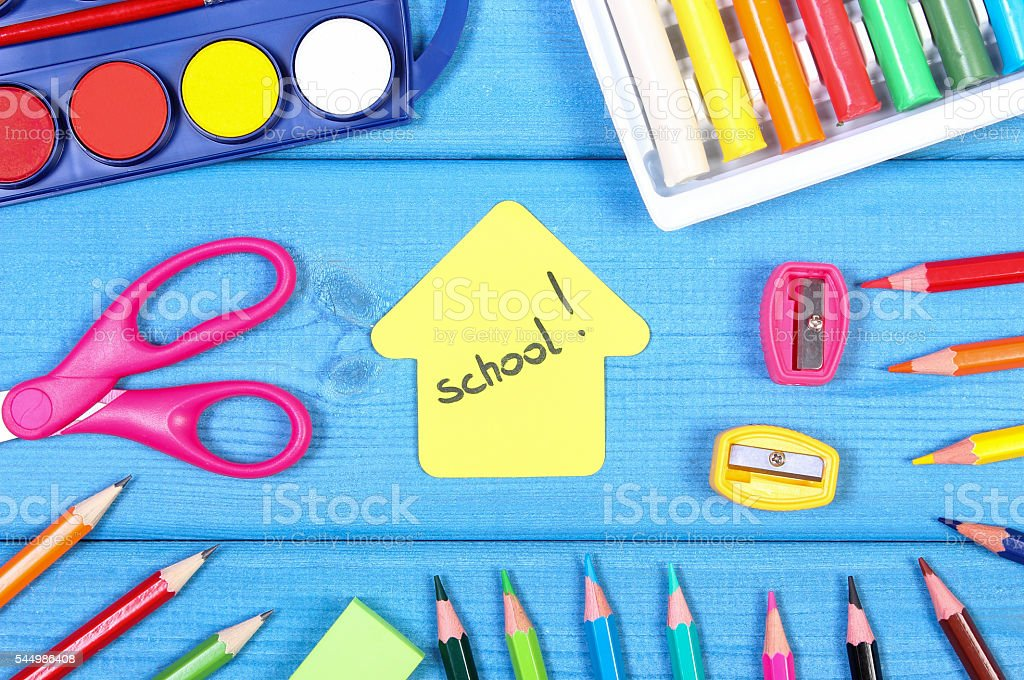School accessories and shape of building, back to school concept stock photo
