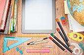 School accessories on a desk