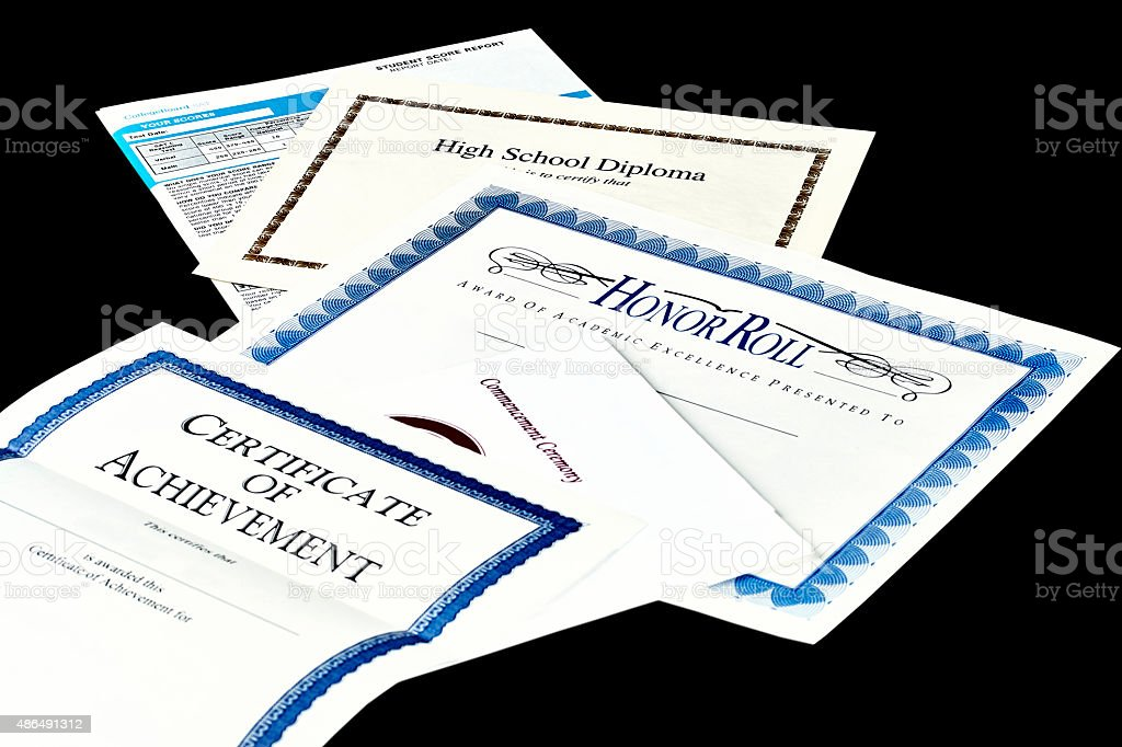 School Achievement documents stock photo