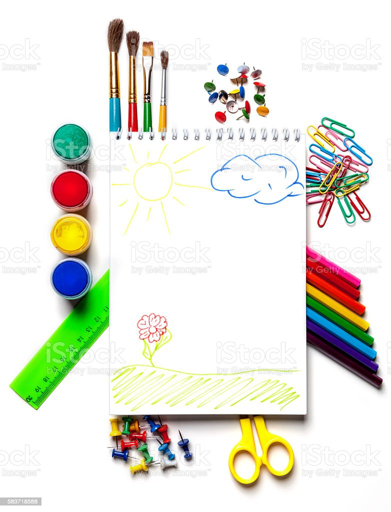 School and art supplies  on a white background isolated. stock photo