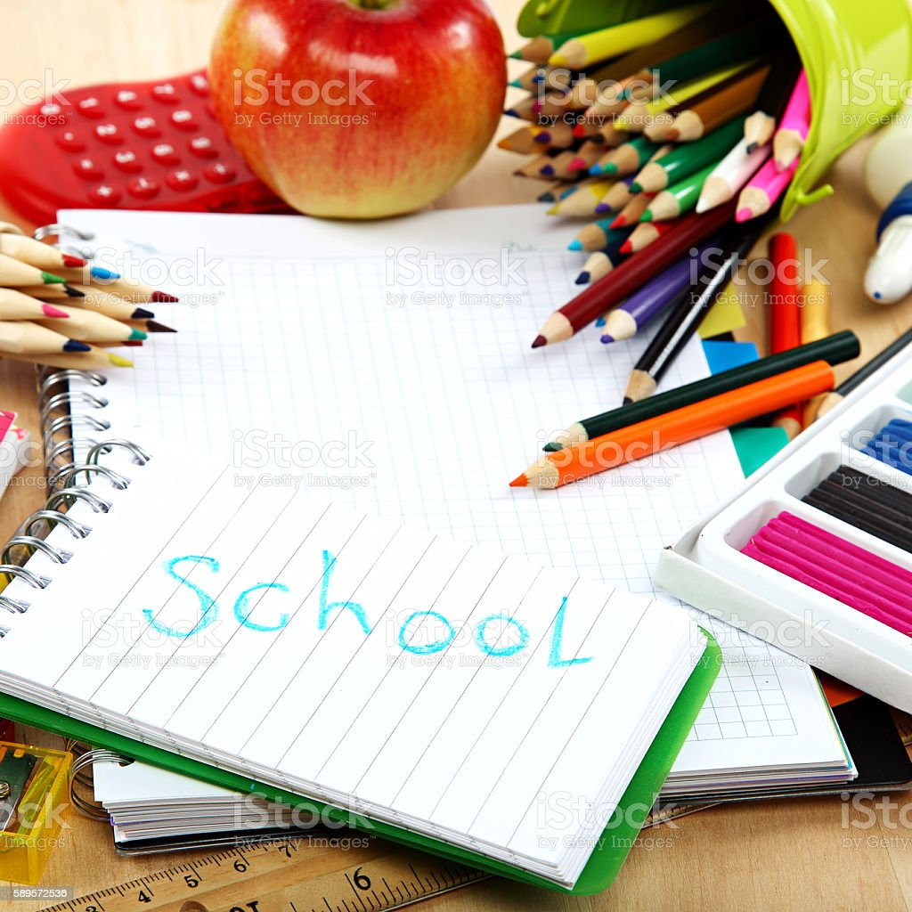 School and office supplies. Back to school. stock photo