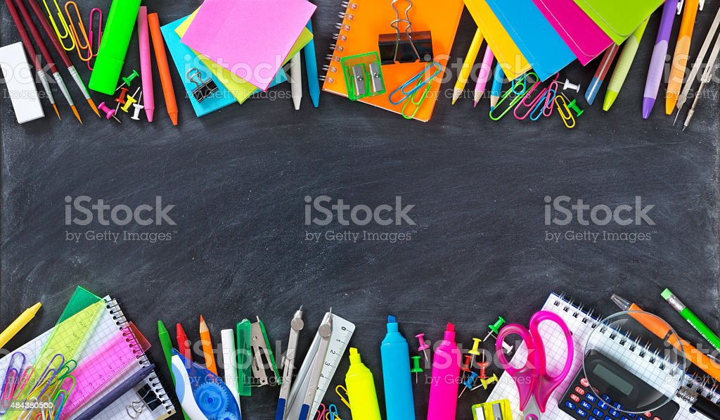 School and office supplies double border on blackboard stock photo