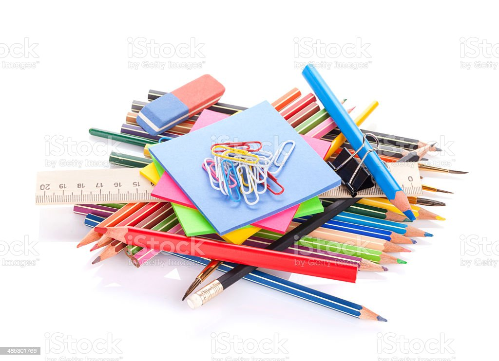 School and office supplies heap stock photo