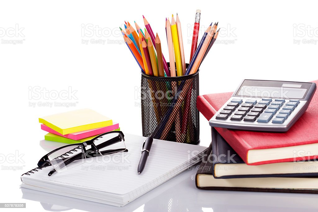 School and office supplies isolated on white background stock photo