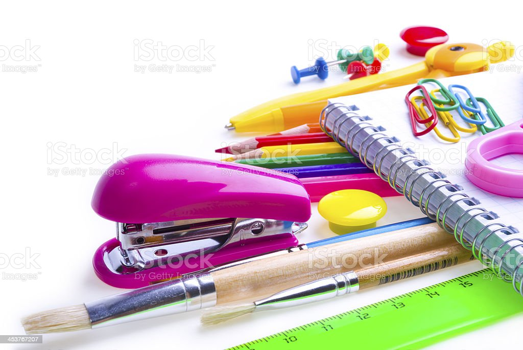 School and office supplies. Stationery on white background. royalty-free stock photo