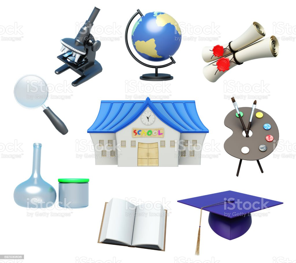 School attributes and school accessories on white background. 3d stock photo