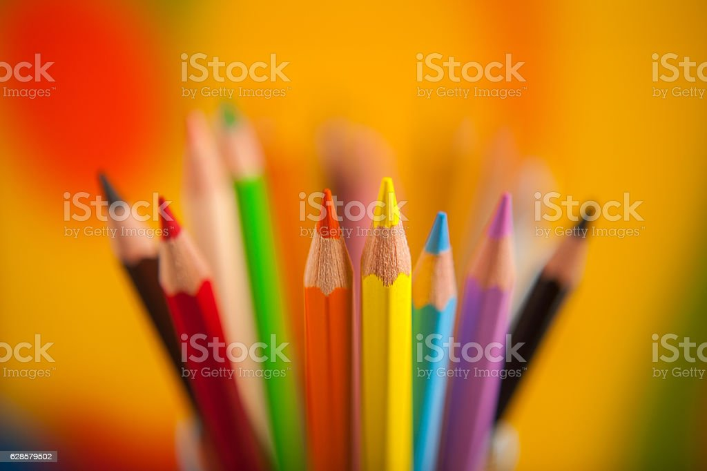 school background theme many colorful pencils stock photo