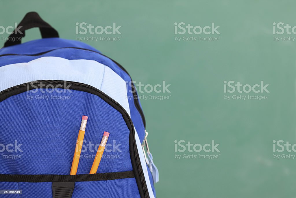 School backpack with copyspace stock photo