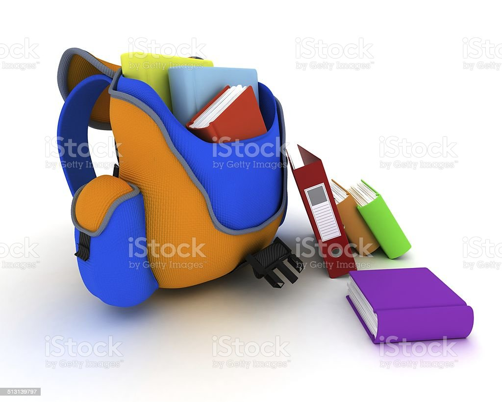 School Bag and Books stock photo