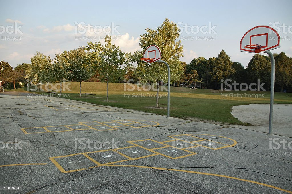 School basketball court outside stock photo