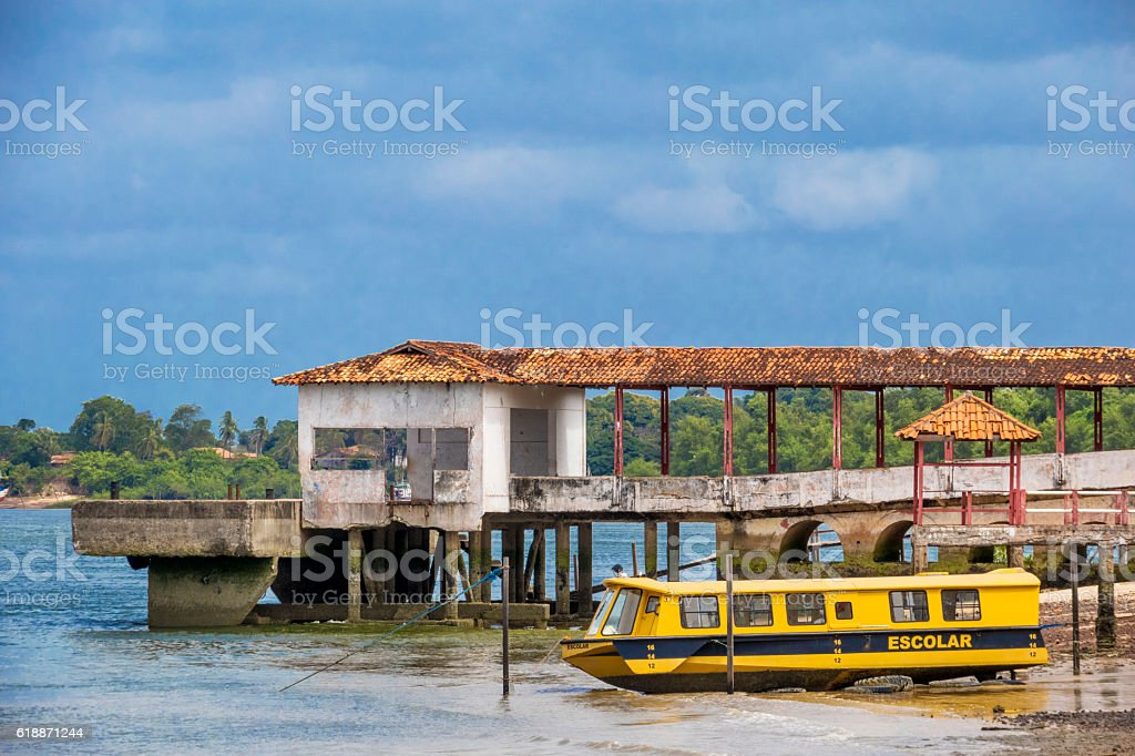 School Boat anchored stock photo