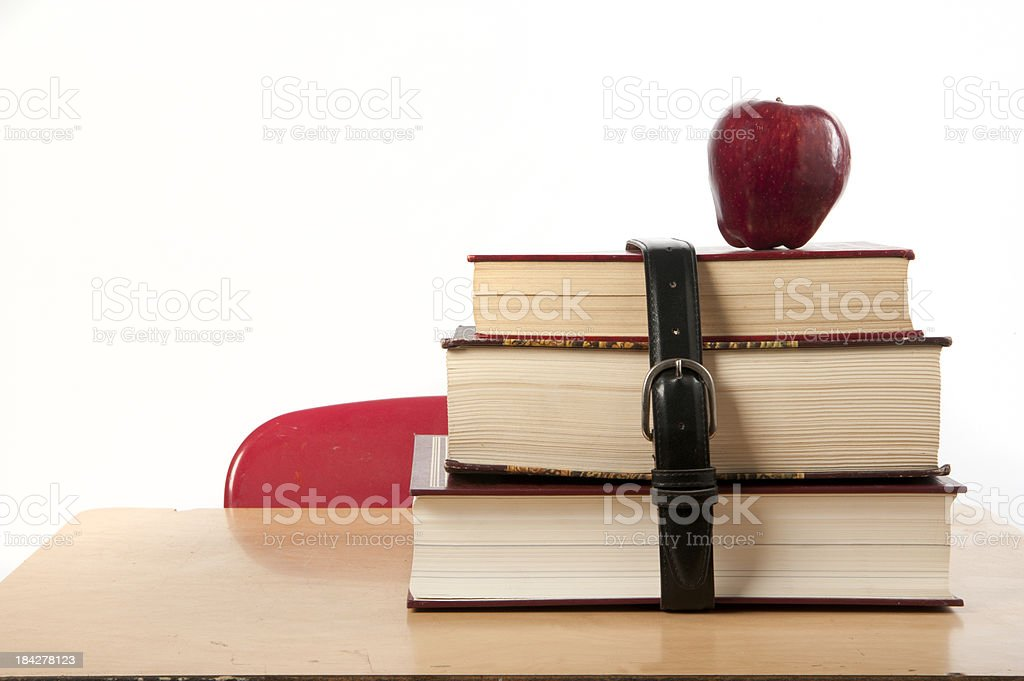 school books and apple royalty-free stock photo