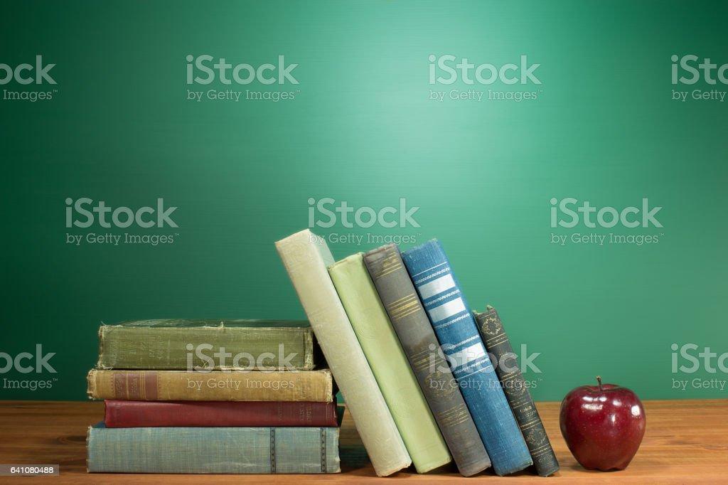 School Books and Apple stock photo
