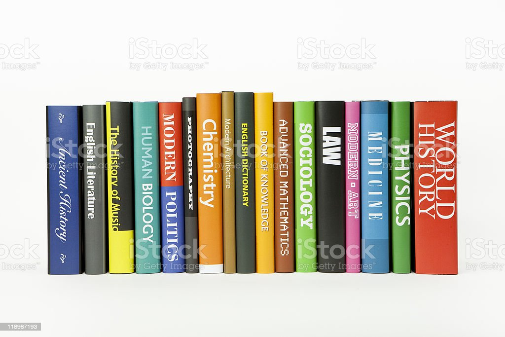 School books of various subjects and colors stock photo