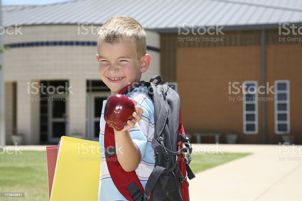 School Boy with Apple royalty-free stock photo