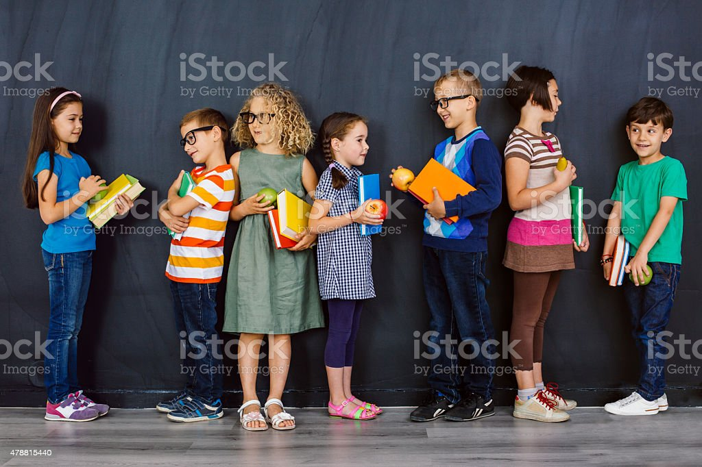 School boys and girls stock photo