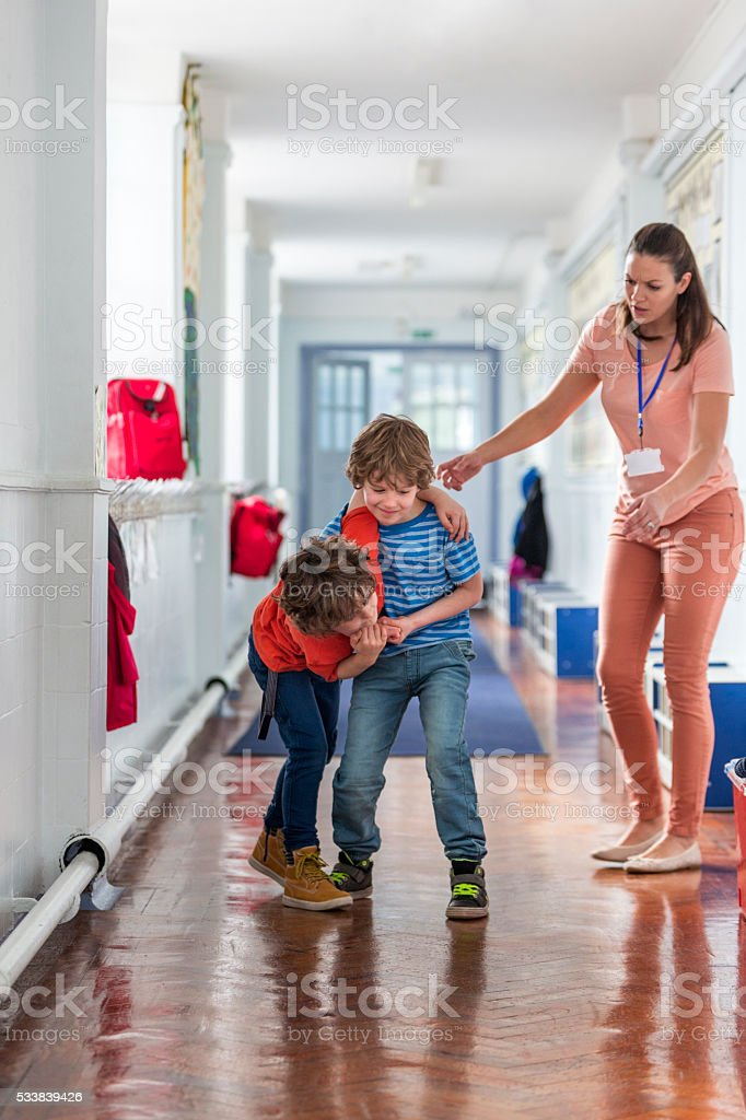 School Boys Being Disobedient stock photo