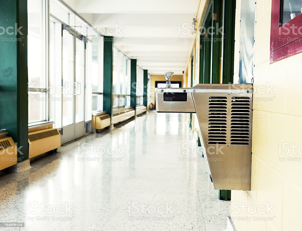 School Building Interior, Drinking Fountain stock photo