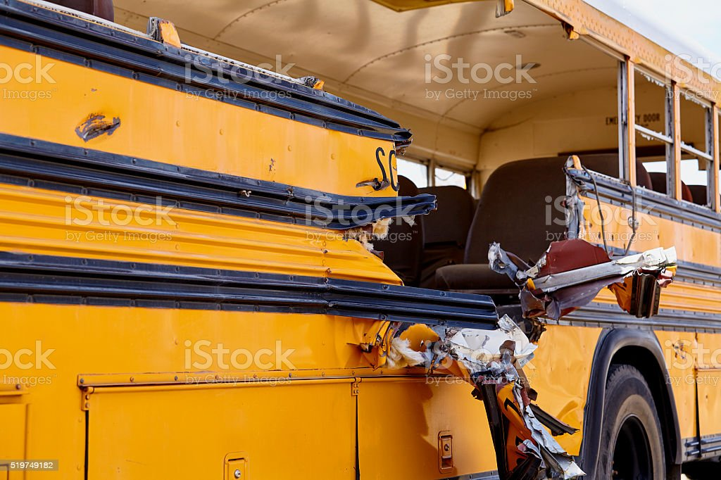 School Bus accident collision damage EMS Response stock photo