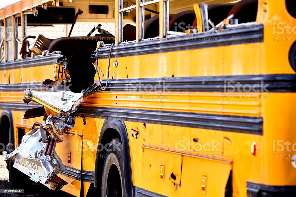 School Bus accident damage EMS Fire response stock photo