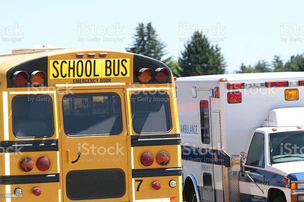 School Bus and Ambulance royalty-free stock photo