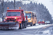 School Bus And Snowplow Trucks in Blizzard Snow Traffic