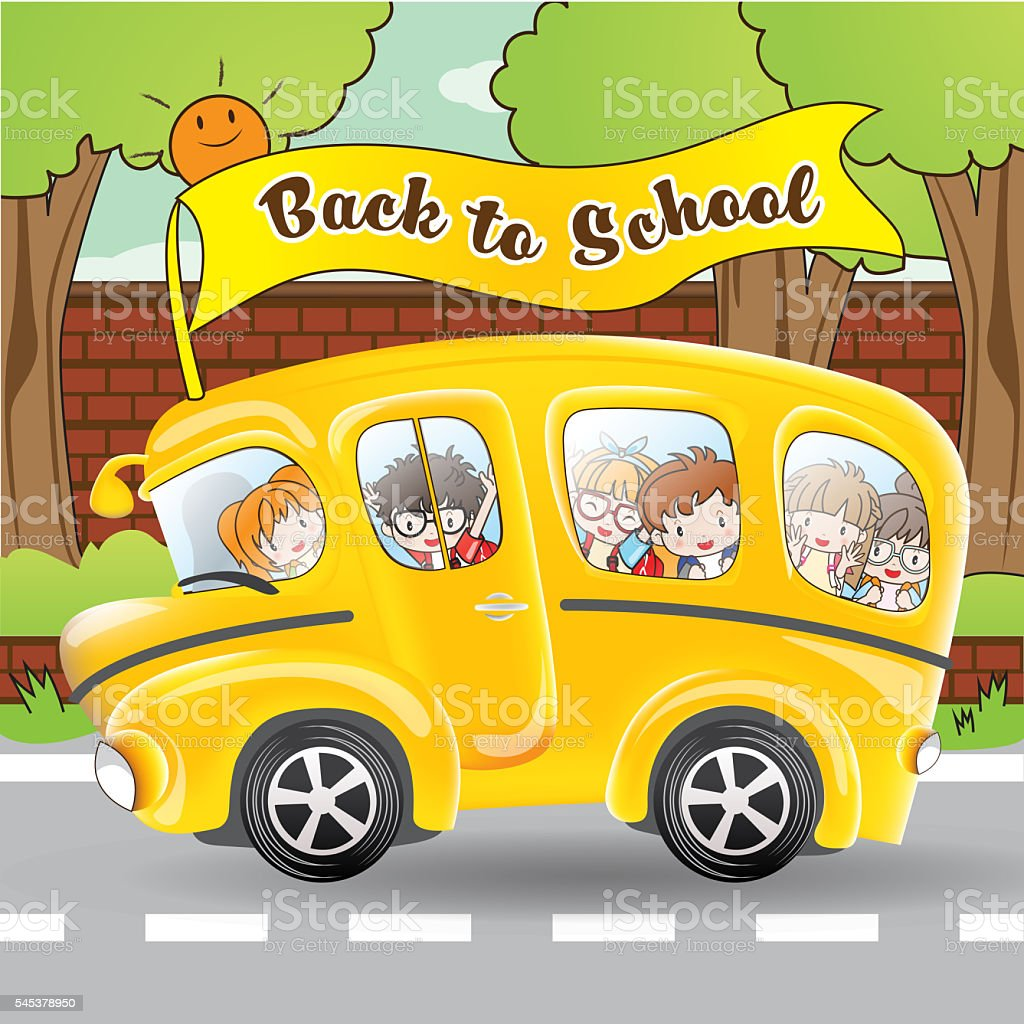 School bus and student by cartoon character stock photo