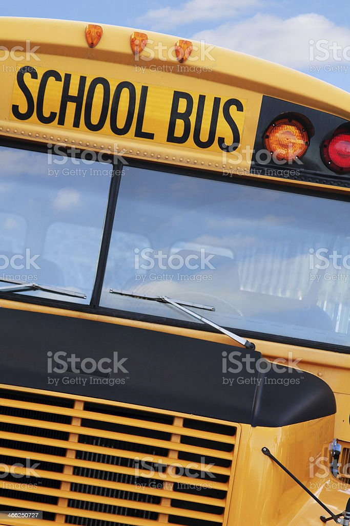 school bus close with clouds royalty-free stock photo