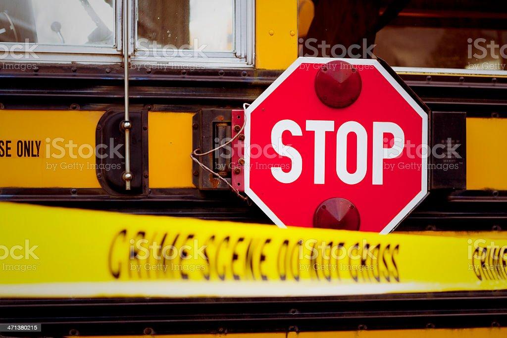 School Bus Crime Scene royalty-free stock photo