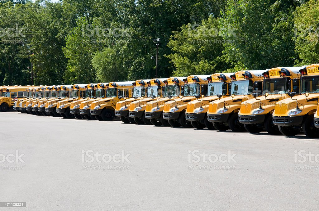 School Bus Fleet royalty-free stock photo
