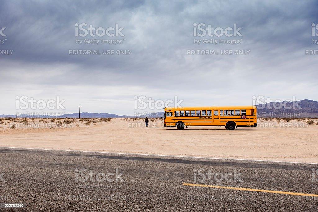 Twentynine Palms/USA - March 21, 2016: School Bus in desert stock photo