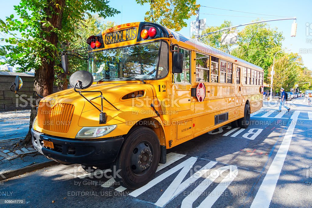 school bus in Manhattan, NYC stock photo